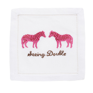 $40.00 SEEING DOUBLE ZEBRA COCKTAIL NAPKINS