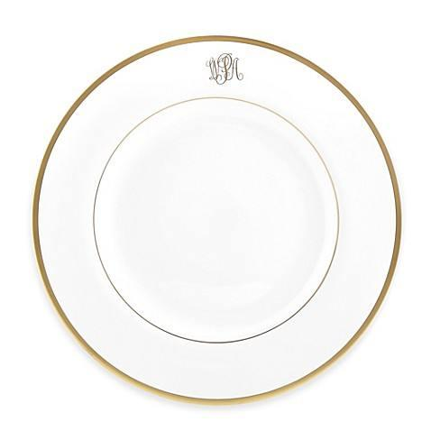 $97.00 Signature Gold - Dinner Plate with Monogram