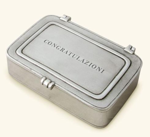 """$170.00 """"Congratulazioni"""" Pewter Box Large"""