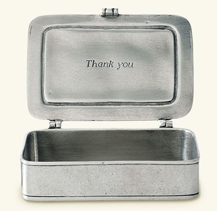 "$170.00 ""Grazie"" Pewter Box Large"