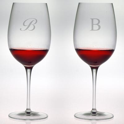 $60.00 All Purpose Wine Glass w/monogram - set of 4