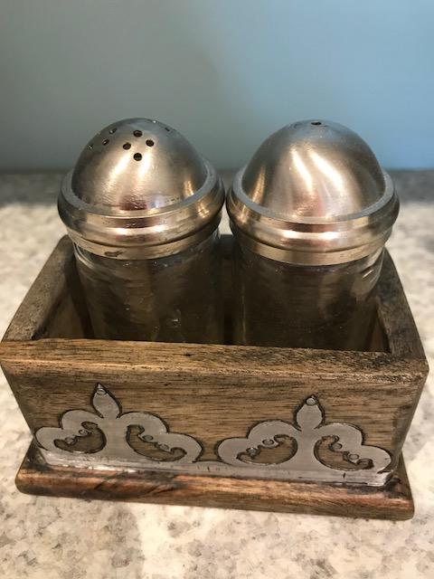 $55.50 Salt & Pepper Wood/Metal