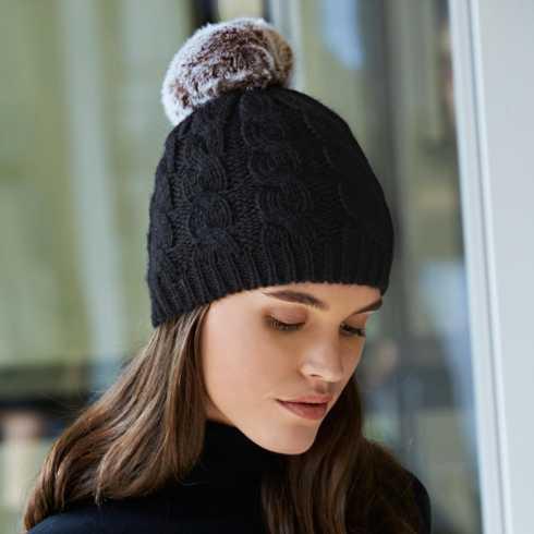 $80.00 Black Beanie Hat with Pom Poms