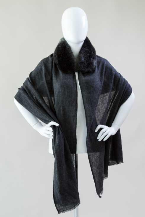 $180.00 Cashemere Stole with Faux Fur Trim