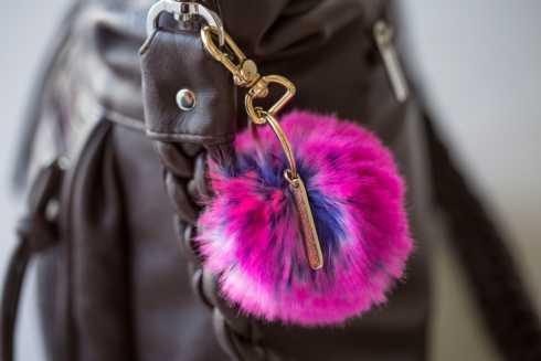 $40.00 Faux Fur Pom Pom Key Ring (Rose)
