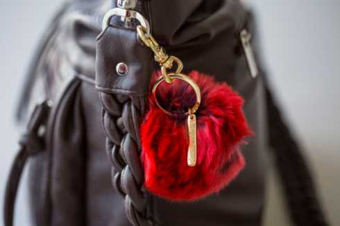$40.00 Faux Fur Pom Pom Key Ring (Rouge)