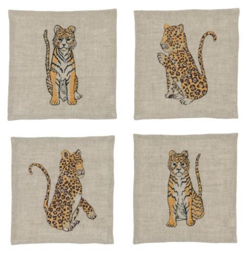 $80.00 Jaguars & Tigers Cocktail Napkins -Set of 4