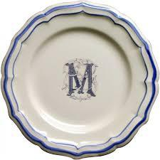 """$45.00 Gien Monogram Filet Bleu Dessert Plate """"R"""""""