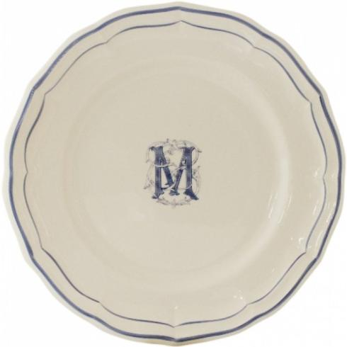 $35.00 Gien Filets Bleu Monogram Canape Plate