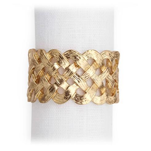 $128.00 Matte Gold Braid Napkin Rings - Set of 4