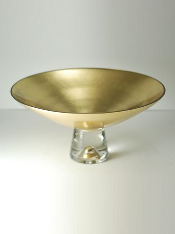 "$97.00 9"" Pedestal Gold Bowl"