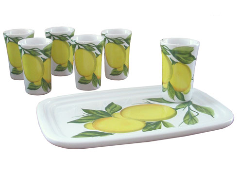 """$75.00 Set-6 ceramic glasses and tray (glasses 1 3/4""""d, 2 3/4""""h) (tray 5.5"""" x 7 3/4"""")"""
