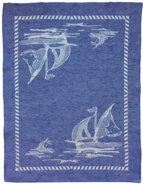 "$38.00 Kitchen Towel - Sailboat Blue (23"" x 31.5"") Cotton & Linen"