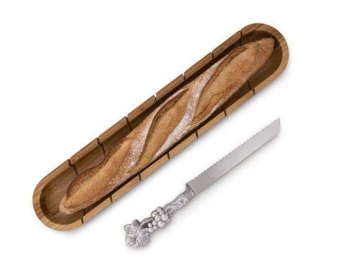$49.00 Baguette Board with Grape Bread Knife