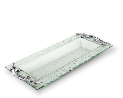 $56.00 Glass Tray - Oblong Olive