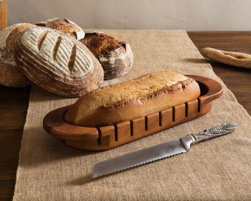 $92.00 Oval Bread Board w/ Wheat Knife