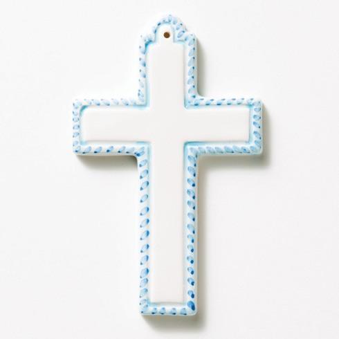 $30.00 Blue Ceramic Cross Ornament