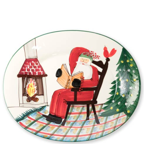 $241.00 Large Oval Platter with Santa Reading