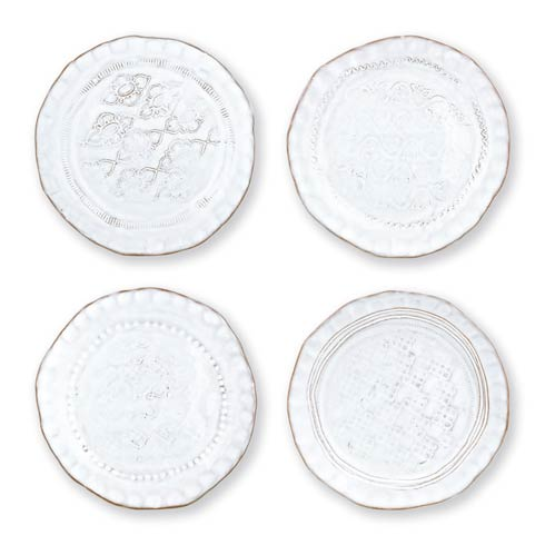 $86.00 White Assorted Canape Plates – Set of 4