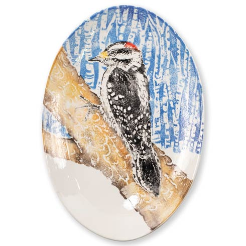 $194.00 Woodpecker Shallow Oval Bowl