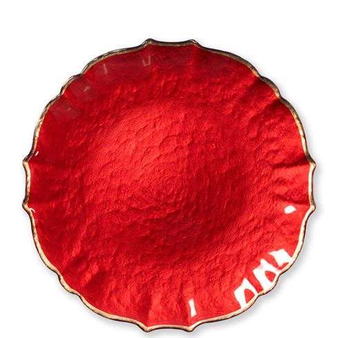 $34.00 Red Service Plate / Charger