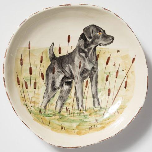 $218.00 Black Hunting Dog Large Serving Bowl