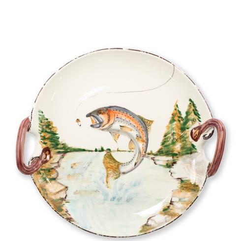 $199.00 Rainbow Trout Handled Round Platter