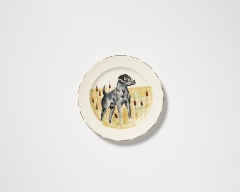 $55.00 Black Hunting Dog Dinner Plate
