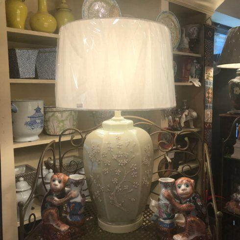 $600.00 Beige Floral Lamp with Brass Finial