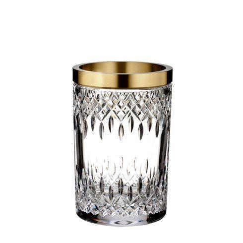 $375.00 Lismore Reflection With Gold Band Vase 8""