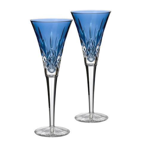 $195.00 Sapphire Toasting Flute, Pair