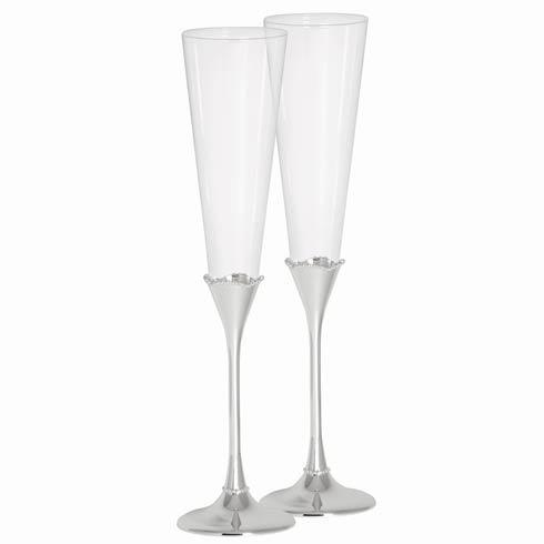 $75.00 Bead Silver Stem Toasting Flute, Set of 2