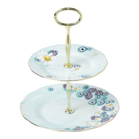 $74.99 Cake Stand Two-Tier Turquoise