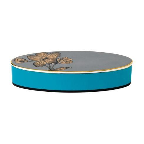 """$100.00 Box Lidded Oval 8.3"""" Turquoise"""
