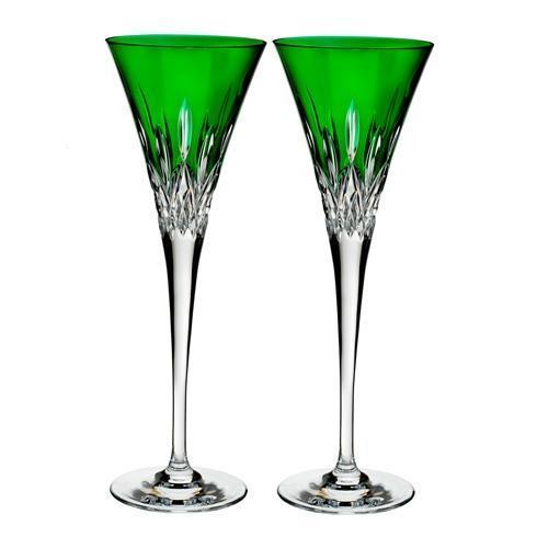 $195.00 Toasting Flute Pair, Emerald