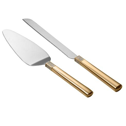 $75.00 Lismore Diamond Cake Knife & Server Gold