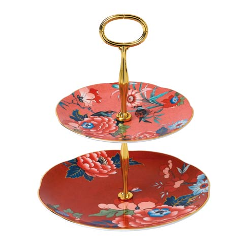$109.95 Cake Stand Two-Tier (Coral & Red)