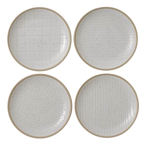 "$21.99 Plate 6"" Mixed White Set of 4"