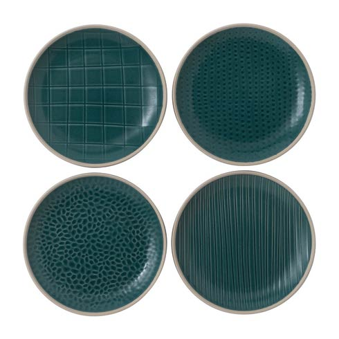"$21.99 Plate 6"" Mixed Blue Set of 4"