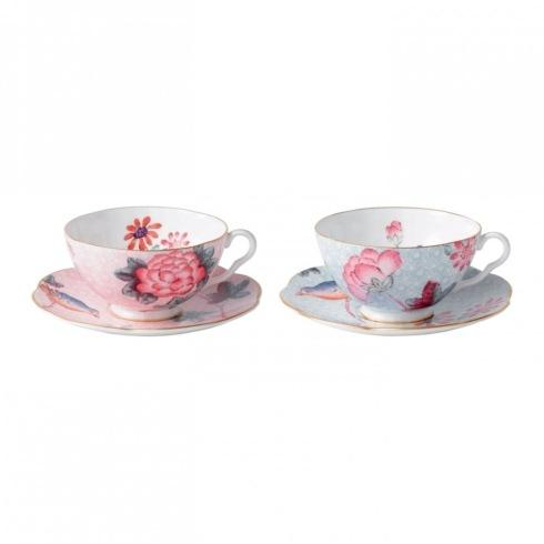 $89.95 Teacup & Saucer Set/2 Pink & Blue