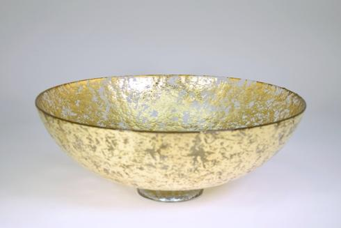 "$200.00 15"" x 5 1/2"" footed bubble glass bowl"